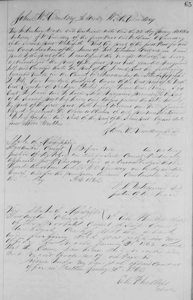Lindsey, John W. to William O., 1862, Itawamba DB 17