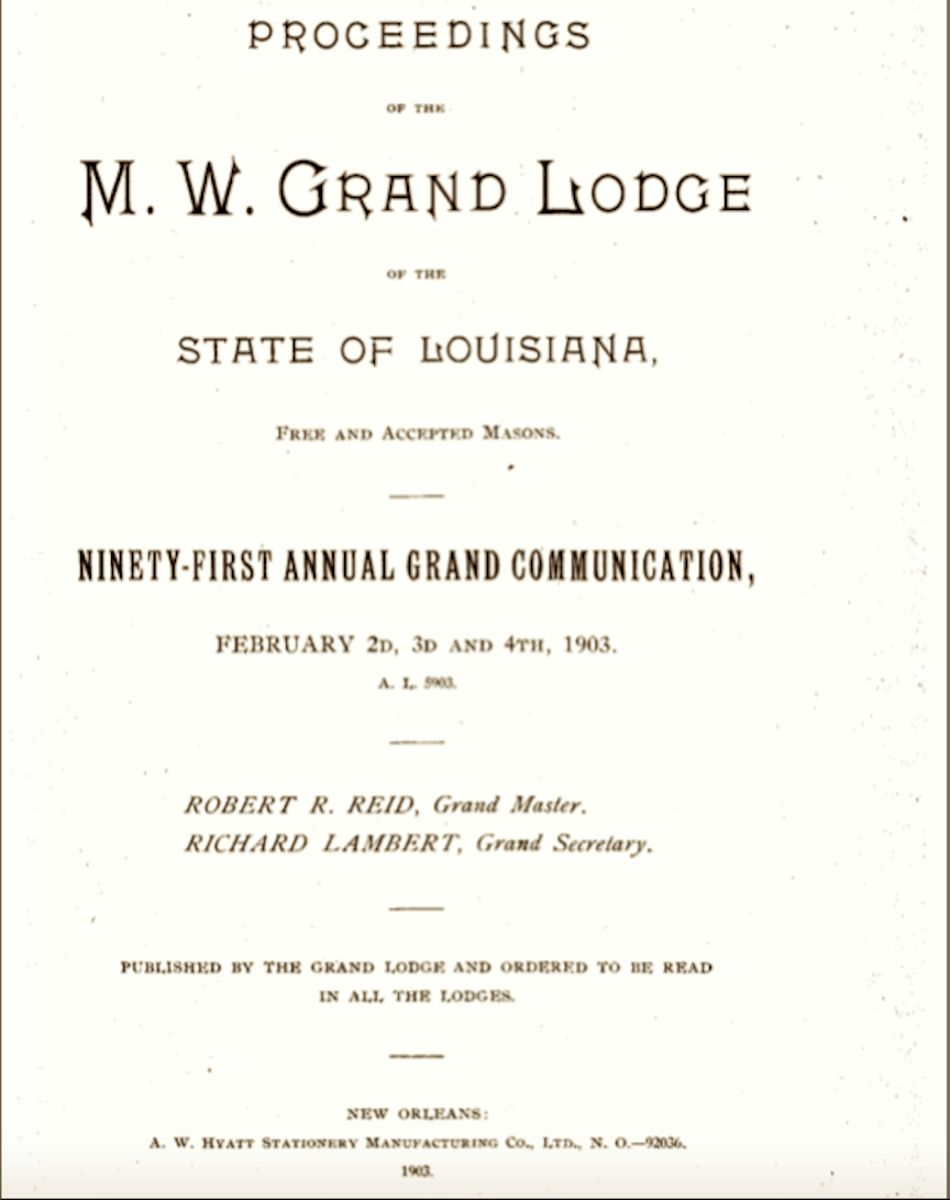 Lindsey, John Wesley Death Record, Proceedings of the M.W. Grand Lodge of the State of Louisiana (title)