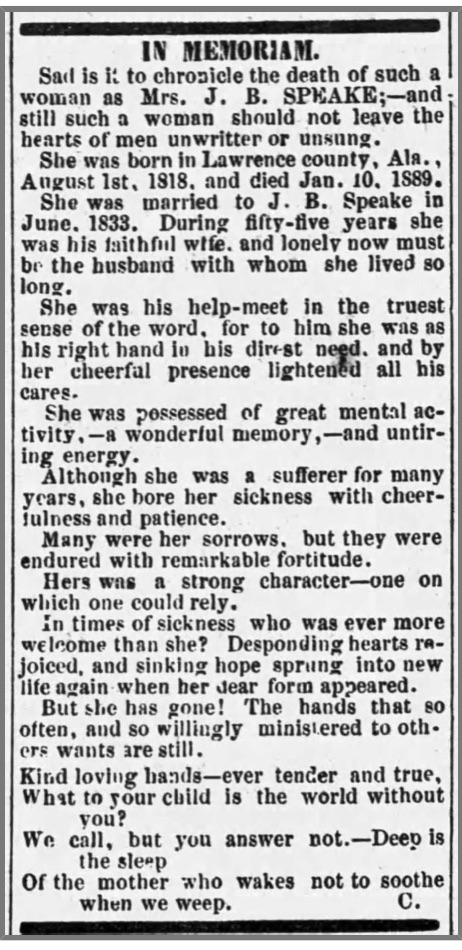 Lindsey, Sarah Brooks Speake Obit., Moulton Advertiser, 24 Jan. 1889, p. 2, col. 5